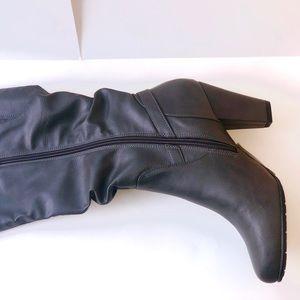 Shoes - NEW UNUSED GUNMETAL GREY BELOW-KNEE HEELED BOOTS
